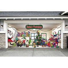 Don't be fooled by the companies that are trying to copy their garage door decors. Their quality of artwork, materials, print, and ease of installation cannot be matched. Purchase the one and only Santa's Workshop Garage Door Mural décor. Garage Door Panels, Garage Door Decor, Barn Garage, Snowman Christmas Decorations, Decorating With Christmas Lights, Christmas Ornaments, Sectional Garage Doors, Green Santa, Door Murals