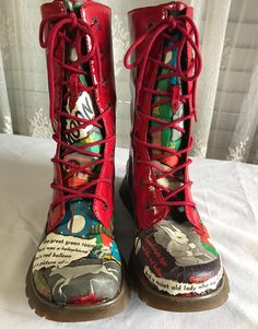 d22e35393ce Refashioned MIA Red Combat Boots Goodnight Moon size 8