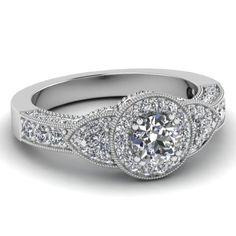 3 Stone Round and Trillion Vintage Diamond Engagement Ring