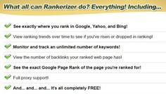 [GIVEAWAY] Rankerizer [Keyword Rank Checker Tool]     With Rankerizer, you can monitor and track your Google, Yahoo, and Bing rankings, 100% free.     Rankerizer allows you to quickly and easily track and monitor your Google, Yahoo, and Bing search engine rankings for an unlimited number of keywords and websites. You can view your ranking history over a period of time by viewing the eye catching graphs. This version is absolutely free and is guaranteed to run faster and better than any other…