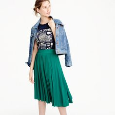 "This skirt features one of our favorite design details: double pleats for double the dimension (and fun). So don't be surprised when you want to spontaneously give it a twirl or two. <ul><li>Sits at waist.</li><li>23"" long.</li><li>Falls below knee.</li><li>Poly.</li><li>Back zip.</li><li>On-seam pockets.</li><li>Lined.</li><li>Machine wash.</li><li>Import.</li><li>Online only.</li></ul>"