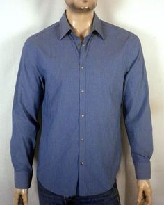 euc A/X Armani Exchange Blue Ribbed/Striped Snap Front Dress Shirt SZ M #AXArmaniExchange #SnapFront