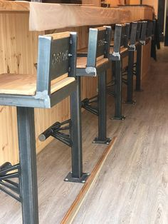 Industrial Style Bolt Down Bar Stools Industrial Style Bolt Down Bar Stools Image 1 Concrete Furniture, Steel Furniture, Bar Furniture, Industrial Furniture, Furniture Makeover, Industrial Bar Stools, Metal Bar Stools, Metal Chairs, Industrial Style