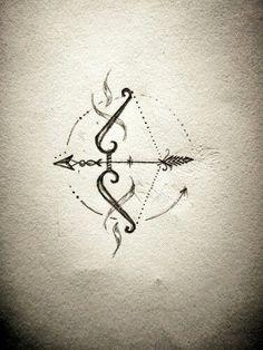 Creative bow and arrow tattoos designs