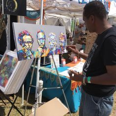 "Jamaica Queens based artist Andrew Nichols working on his piece titled ""The Originals"" at an event. This work of art features jazz icons Miles Davis, John Coltrane, Dizzy Gillespie and Thelonious Monk. #blackart #newyorkcity #jazz #blackhistory #artlifef..."