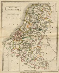 Antique Map of Holland and Belgium, circa 1840