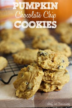 Pumpkin Chocolate Chip Cookies! Perfect for fall! #recipe #cookie #pumpkin
