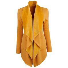 Lapel Asymmetric Hem Zips Plain Coat (€25) ❤ liked on Polyvore featuring outerwear, coats, lapel coat, zip coat, asymmetrical zip coat, long coat and zipper coat