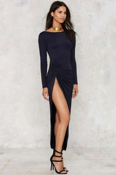 Lioness Found Love Slit Dress - Navy - Dresses
