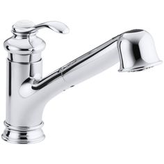 Kohler Fairfax Single-Hole or Three-Hole Kitchen Sink Faucet with Pullout Spout Finish: Polished Chrome Kitchen Faucet Parts, Best Kitchen Sinks, Pull Out Kitchen Faucet, Kitchen Sink Faucets, Kitchen Handles, Bathroom Faucets, Kitchen And Bath, Cool Kitchens, Soap Kitchen