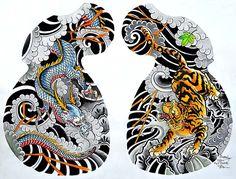 Dragon Tiger Tattoo Half Sleeve by Clark North Flash Giclee Art Print