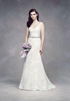 Chantilly Lace Wedding Dress. Sleeveless v-neck lace bodice with beaded trim embellishment at waist | Paloma Blanca | https://www.theknot.com/fashion/4305-paloma-blanca-wedding-dress