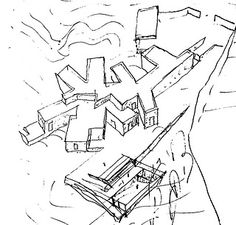 Casa Lagartixa, Sintra. Álvaro Siza Vieira Space Architecture, Drawing Architecture, Model Sketch, House Sketch, Drawing Sketches, Modern Design, Architectural Drawings, Thesis, Architecture Drawings