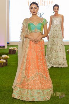 Two tone mint green and pastel coral Kajals-couture-INDIAN-PAKISTANI-WEDDING-FASHION