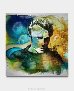 Portrait de James Dean. Estampe numérique imprimée sur aluminium brossé avec application d'une résine d'époxy par endroits. Année : 2018 Format : 36 x 36 pouces James Dean, Pop Art, Portrait, Night, Artwork, Painting, Street Art, Printmaking, Artist