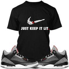 a3c3010dd41252 Jordan 3 Black Cement Sneaker Tees Shirt - SWOOSH Jordan 3 Black Cement