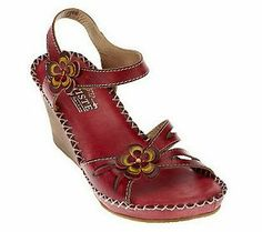 Spring Step Lilith Leather Wedge Sandals with Flower Detail