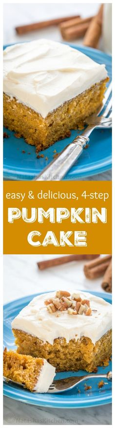 This Easy Pumpkin Cake is done in 4 steps (with frosting)! The moist, delicate crumb and marshmallow-like whipped cream cheese frosting is irresistible! (easy desert with cream cheese) Pumpkin Deserts, Pumpkin Cake Recipes, Pumkin Cake, Pumpkin Pancakes, Köstliche Desserts, Dessert Recipes, Thanksgiving, Holiday Baking, Let Them Eat Cake