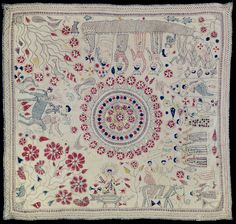 A nineteenth-century Bengali kantha (embroidered quilt); it includes a representation of the personification of the Ganges river, the four-armed goddess Ganga, sitting atop her vehicle, a makara (a fish-crocodile). (Philadelphia Museum of Art)