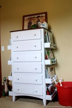 DYI Home Design: Attach Spice Racks to Sides of Dresser for Book Storage