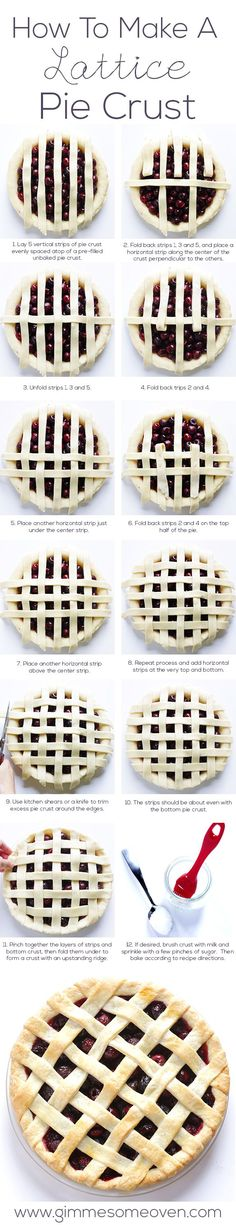 To Make A Lattice Pie Crust How To Make A Lattice Pie Crust. This looks so much easier than the way I do it. Can't wait to try.How To Make A Lattice Pie Crust. This looks so much easier than the way I do it. Can't wait to try. Pie Recipes, Sweet Recipes, Baking Recipes, Fall Recipes, Yummy Recipes, Recipies, Yummy Treats, Sweet Treats, Yummy Food