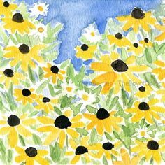 Black eyed Susan field Art print of my original watercolor painting. Fresh bright painting. Will make a lovely mothers day gift or just for you to enjoy. Limited edition of 50. The first photo is detail, see full painting on the second photo. * watermark will not appear on the painting * mat and frames are not included. Measures: Image .6.7 X 10.5 (17.2 X 26.9cm) Paper A4 8.3 x 11.7 (21x29.7 cm) Colors:Fresh Green, Yellow. blue, Black and brown. Orientation : Landscape (horizontal) *You…