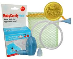 BabyComfy Nasal Aspirator -- The Snotsucker -- Hygienically & Safely Removes Baby's Nasal Mucus - Blue - The Original Snot Sucker BabyComfyNose Nasal Aspirator uses your own suction to remove nasal mucus safely and hygienically. Uses lightly-wadded tissue inside the aspirator to filter mucus and germs. The mesh pouch keeps pieces together in the diaper bag and the dishwasher. Two soft nose tips incl...