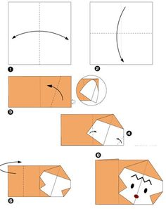 Simple origami for kids and their parents. Selection of funny and cute figures. Monkey