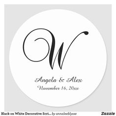 Black on White Decorative Script Monogram W Classic Round Sticker Monogram Gifts, Christmas Card Holders, Round Stickers, Custom Stickers, Keep It Cleaner, Holiday Cards, Script, Activities For Kids, Classic