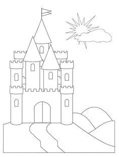 disney cinderella castle coloring pages   Castle Drawing Template   basic castle cinderellas castle ...