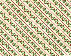 Yuletide Memories - Petit Holly Diagonal Stripe - Cream