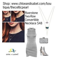 """Today's Featured Product: Riverstone Two-Row Convertible Necklace"" by thecelticpearl ❤ liked on Polyvore featuring WearAll, Anne Michelle and Oscar de la Renta"