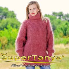 Hand knitted turtleneck ribbed mohair sweater in paster red coral by SuperTanya