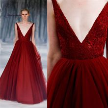 Paolo Sebastian 2016 Prom Dresses Deep V Neck Lace Appliques Backless Tulle Burgundy Evening Dresses(China (Mainland))