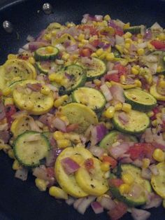 Calabacitas...Verdict:  Success!!! I made this for dinner tonight using the two yellow squash I had on hand, as opposed to the 1 yellow squash and 1 zucchini that the recipe calls for.  I also substituted two TBSP of unsalted butter for the olive oil.  This recipe yields 4 servings at only 139 calories a pop! Serve over a bed of rice and it is super yummy and filling :)