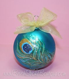 Peacock Feather Ornament  Hand Painted by BrushStrokeBoutique