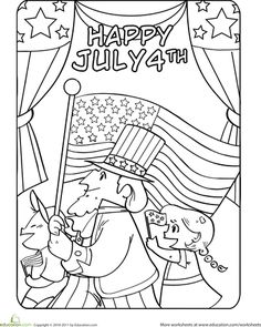 worksheets fourth of july parade coloring page