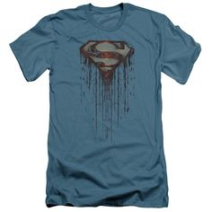 Superman/Shield Drip Short Sleeve Adult T-Shirt 30/1 in Slate