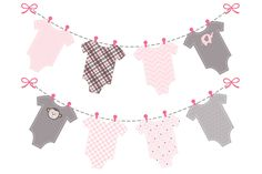 baby girl pink onesie bunting banner by Design Scraps on @creativemarket