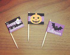 ハロウィン用パーティーピック3種類 カボチャ おばけ コウモリ
