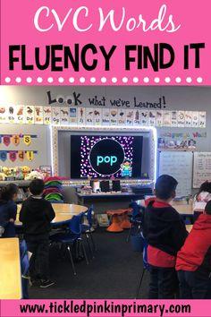 Cvc word fluency - CVC Words Fluency Find It – Cvc word fluency Reading Centers, Reading Skills, Teaching Reading, Reading Intervention Classroom, First Grade Reading, First Grade Classroom, Kindergarten Literacy, Learning Videos For Kindergarten, Preschool