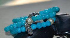 Set of 3 Aqua Beaded Stretch Bracelets by uniquebeadingbyme #buddha #bracelets #aqua