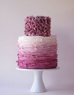 Plum Ruffle Ombre Cake by Maggie Austin - love the texture