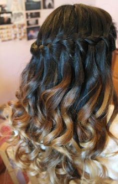 ombre waterfall curls