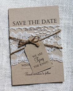 Lace Wedding Save the Date, Save the Dates, Rustic Wedding, Shabby Chic Wedding, Vintage, Lace Wedding Invitation, Rustic Lace, kraft paper