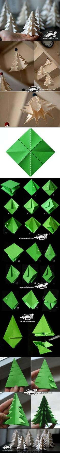 How to fold (and cut) a Christmas tree #origami #craft #paper by Merci