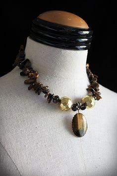 """Tigger"" Tiger Eye Vintage Repurposed necklace by Carla Fox Design on Etsy."