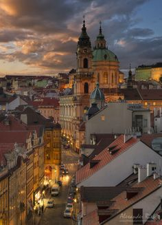 """""""Golden City"""" by Alexander Riek. Prague at sunset as seen from one of the bridge towers. City Aesthetic, Travel Aesthetic, Beautiful Places In The World, Wonderful Places, Places To Travel, Places To See, Prague City, Prague Travel, Prague Czech Republic"""