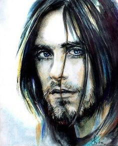 Jared Leto drawing, Jared Leto artwork, Jared Leto watercolor, 30 seconds to mars drawing, capricorn