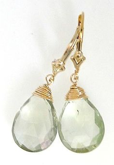 14kt Goldfilled faceted Green Amethyst Earrings